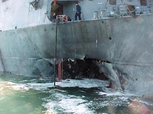 USS Cole Damage after terrorist bombing in 2000