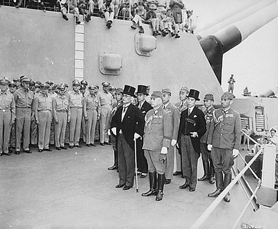 "On September 2, 1945, on the deck of the U.S.S. Missouri in Tokyo Bay, the Japanese envoys Foreign Minister Mamoru Shigemitsu and Gen. Yoshijiro Umezu signed their names on the Instrument of Surrender. The time was recorded as 4 minutes past 9 o'clock. Afterward, Gen. Douglas MacArthur, Commander in the Southwest Pacific and Supreme Commander for the Allied Powers, also signed. He accepted the Japanese surrender ""for the United States, Republic of China, United Kingdom, and the Union of Soviet Socialist Republics, and in the interests of the other United Nations at war with Japan."" (H/T: Gateway Pundit)"